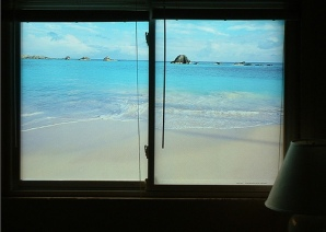 window overlooking ocean