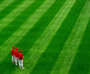 ballplayers in the outfield